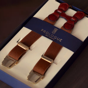 Prologue Elastic Braces in Brown Plain // Burgundy Leather // Brass Hardware