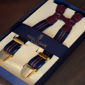 Prologue Elastic Braces in Navy & Burgundy Stripe // Burgundy Leather // Brass Hardware