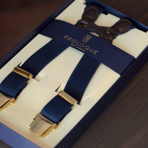 Prologue Elastic Braces in Navy Plain // Chocolate Leather // Brass Hardware