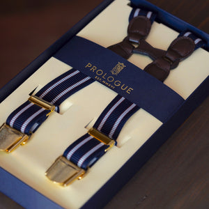 Prologue Elastic Braces in Navy & White Double Stripe // Chocolate Leather // Brass Hardware