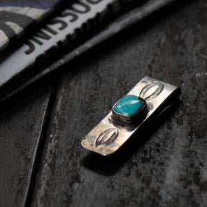SPECIAL - Red Rabbit Ingot Silver Money Clip with Abalone Stamping and Square Turquoise Stone (RRMC06)