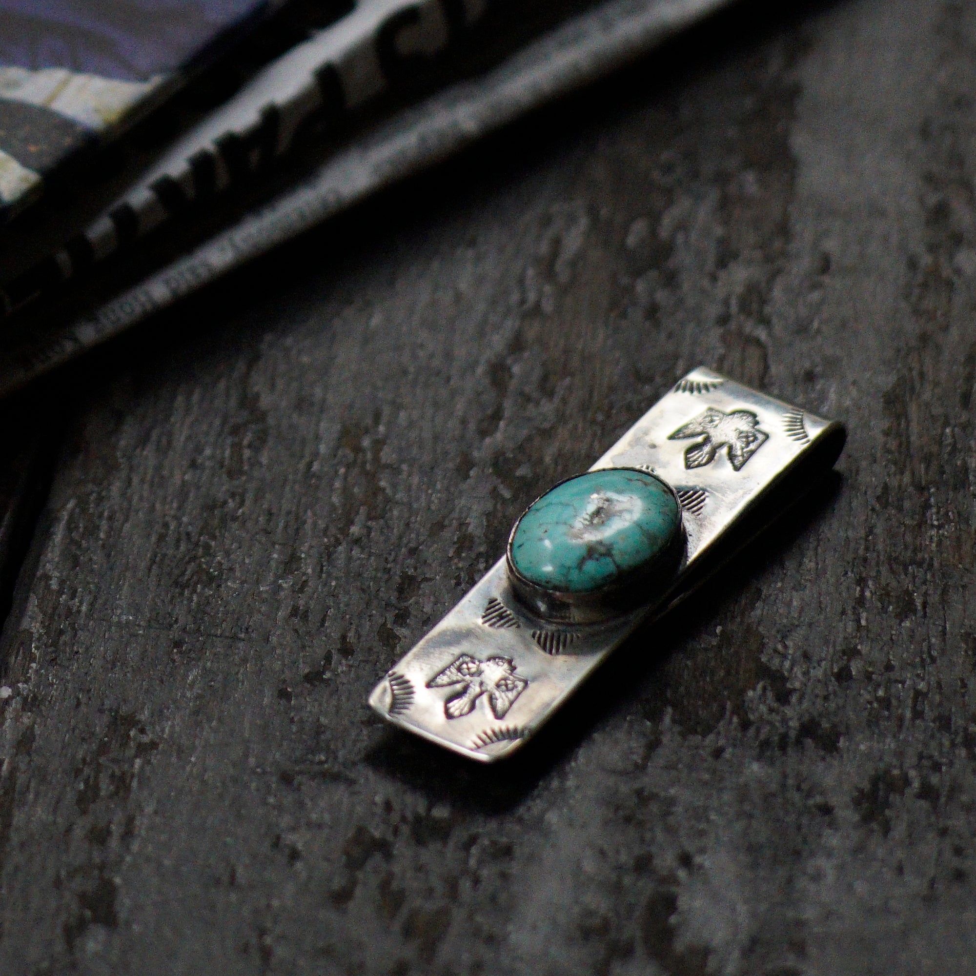 SPECIAL - Red Rabbit Ingot Silver Money Clip with Thunderbird & Sunrays Stamping and Oval Turquoise Stone (RRMC08)
