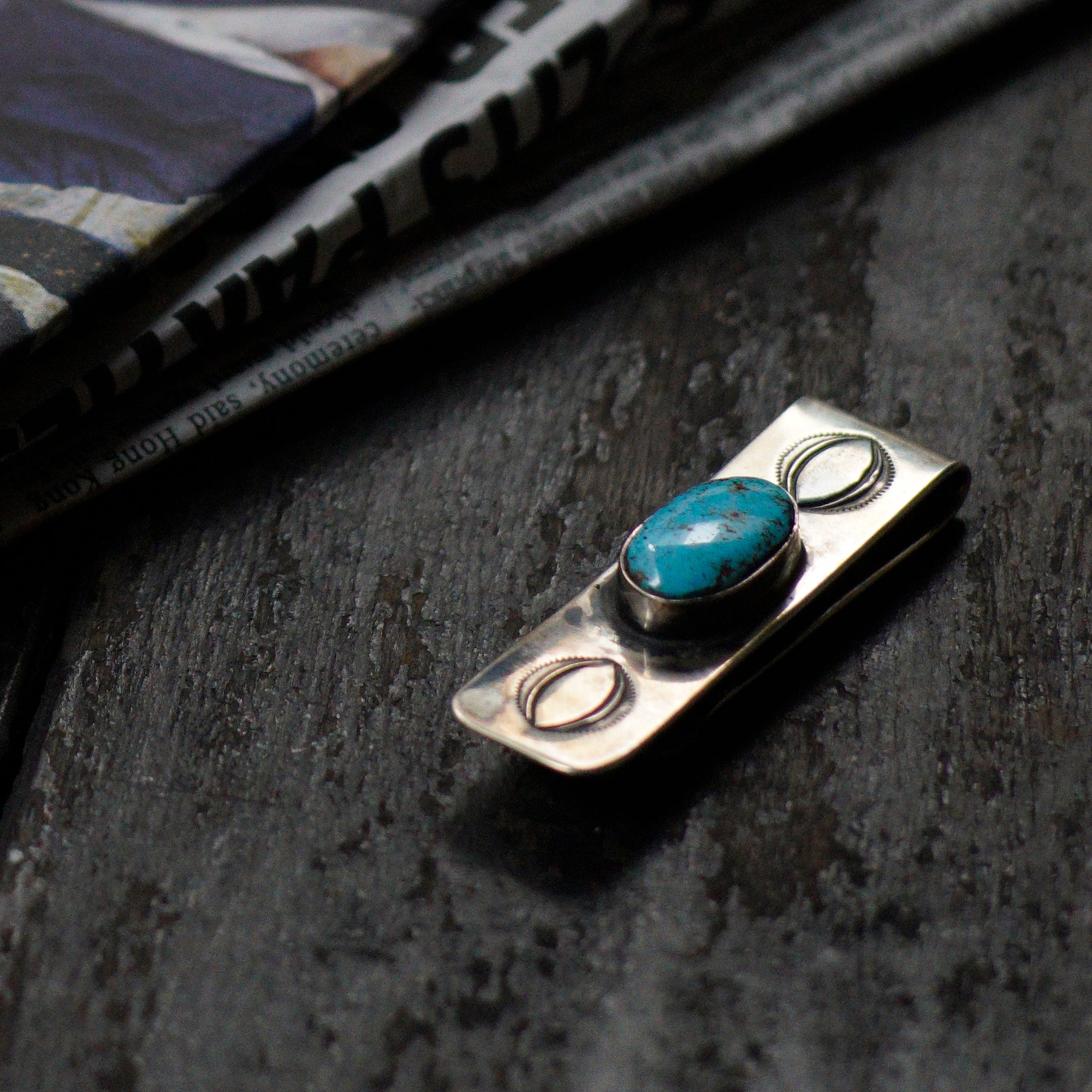 SPECIAL - Red Rabbit Ingot Silver Money Clip with Abalone Stamping and Oval Turquoise Stone (RRMC10)