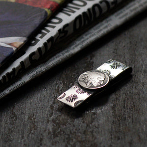 SPECIAL - Red Rabbit Ingot Silver Money Clip with Stamping and Navajo Coin (RRMC11)