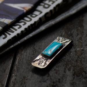 SPECIAL - Red Rabbit Ingot Silver Money Clip with Thunderbird & Arrow Stamping and Rectangle Turquoise Stone (RRMC17)