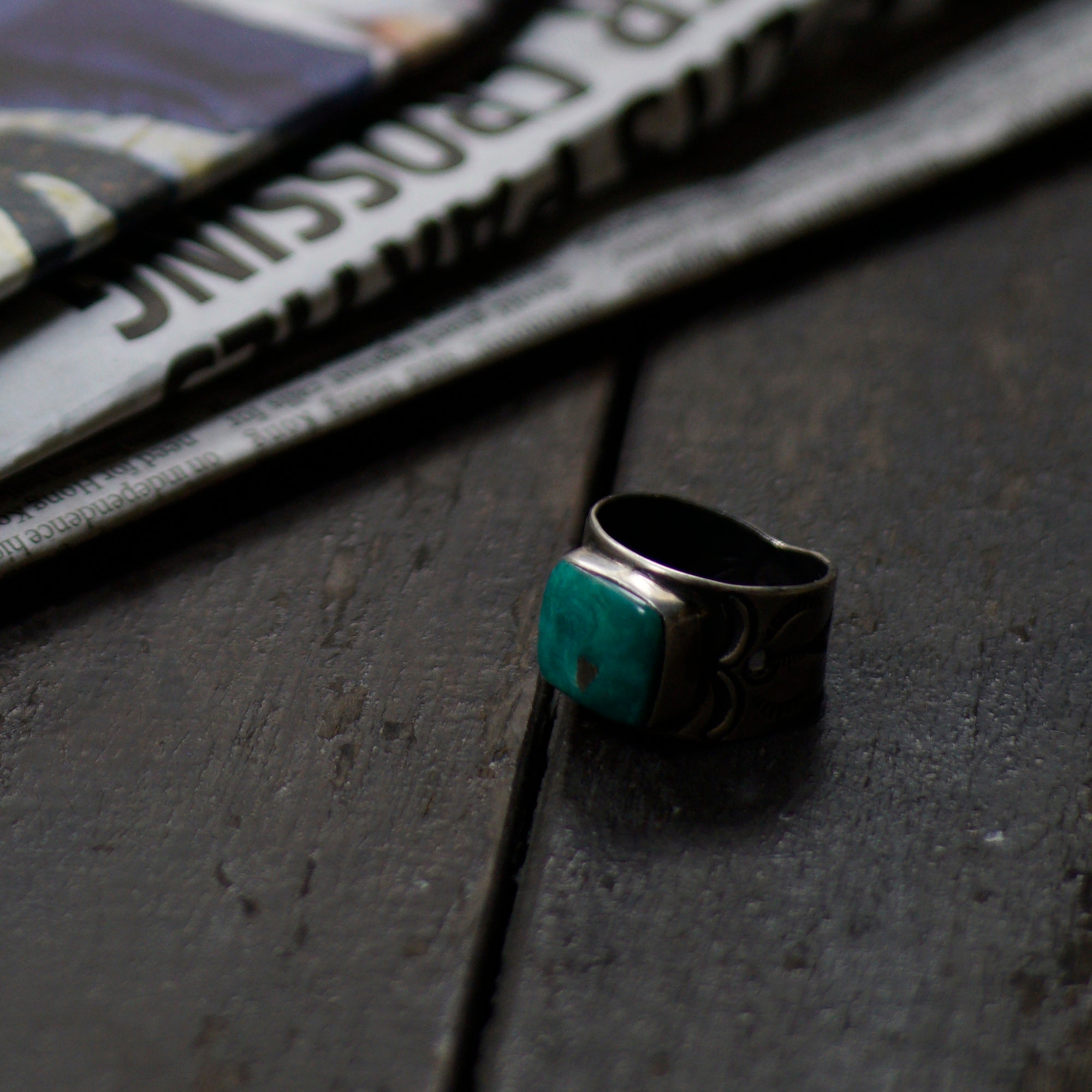 SPECIAL - Red Rabbit Ingot Silver Ring with Large Turquoise Stone (RRR02)
