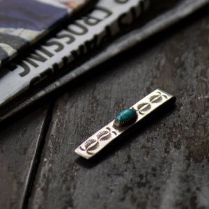 SPECIAL - Red Rabbit Ingot Silver Tie Bar with Turquoise Stone and Sunrays Stamping (RRTB07)