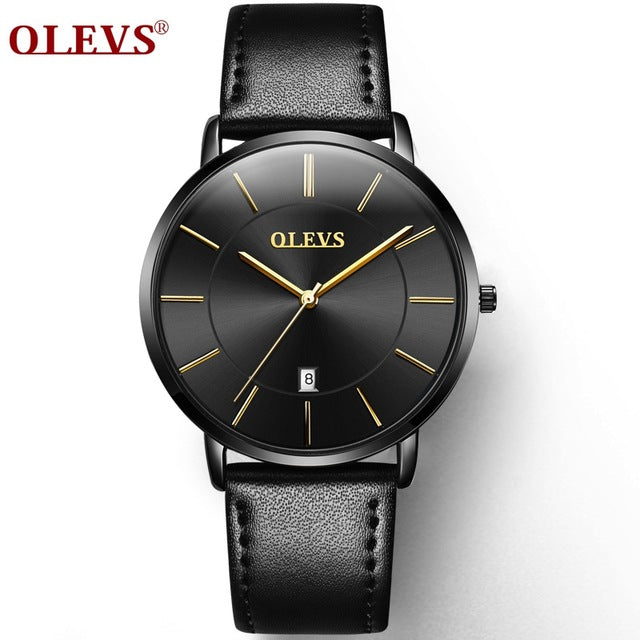 OLEVS Ultra thin Fashion Male Wristwatch Leather Watchband Business Watches Waterproof Scratch-resistant Men Watch Clock - Happysale24