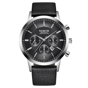 NORTH Brand Luxury Casual Military Quartz Sports Wristwatch Leather Strap Male Clock watch relogio masculino