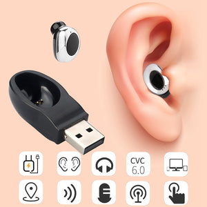 Wireless Bluetooth 4.1 Hidden Mini Earphone in ear earpiece Magnet USB Charger Headphone Handsfree with Mic for smartphone