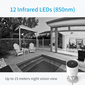 YI Outdoor Security Camera Cloud Cam Wireless IP 1080p Resolution Waterproof Night Vision Security Surveillance System White - Happysale24