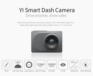 "YI Smart Dash Camera International Version WiFi Night Vision HD 1080P 2.7"" 165 degree 60fps ADAS Safe Reminder"