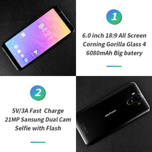 "Ulefone Power 3 6.0""18:9 Full Screen 6080mAh MT6763 Octa Core Face ID 21MP Four Camera 6G 64G Android 7.1 Mobile phone"