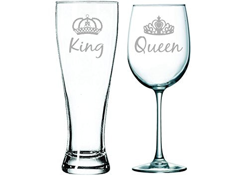 King beer and Queen wine glass with crowns (set of 2) - The Well Chosen