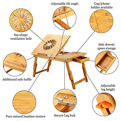 Laptop Desk Table 100% Bamboo with USB Fan - The Well Chosen