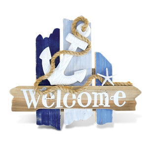 Puzzled Atlantic Anchor Welcome Sign Handcrafted Wooden Nautical Decor - The Well Chosen
