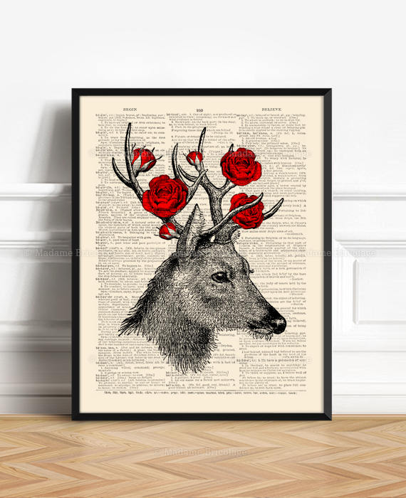 Deer Decor Rustic Woodland Art