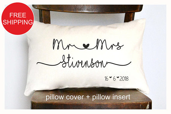 Mr & Mrs Personalized pillow - The Well Chosen