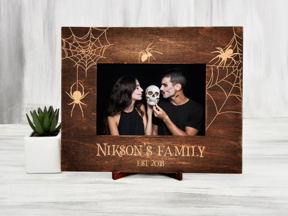 Original Wedding Frame Gothic Wedding Gift for Couple Spider Gift Personalized Picture Frame Vertical or Horizontal Halloween Frame 4x6, 5x7 - The Well Chosen