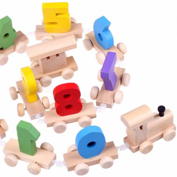 Wood Train with Number Pattern 0~9 - The Well Chosen