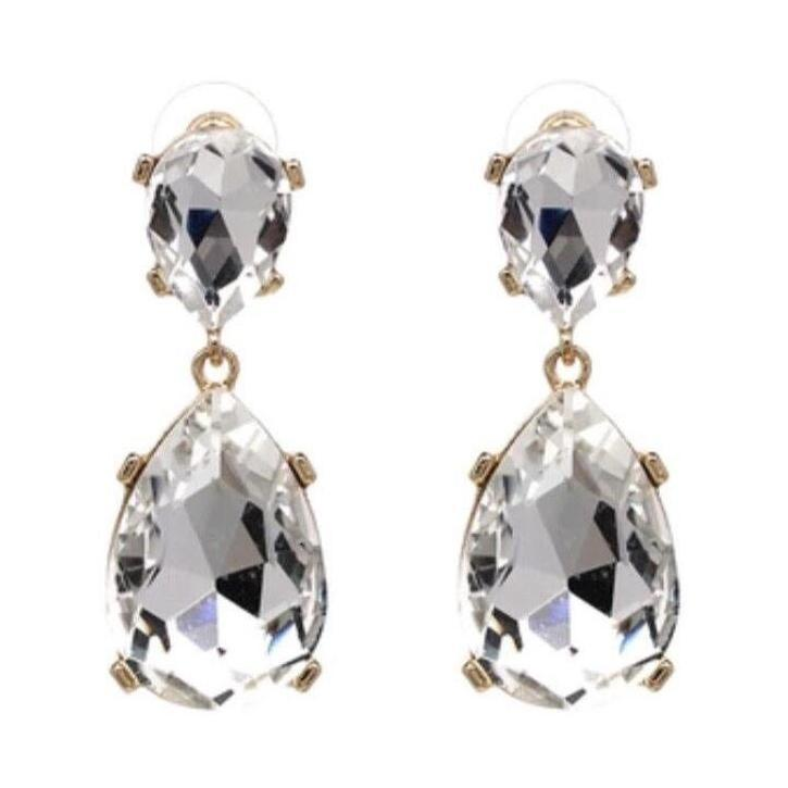 Earrings Amedea White-The Golden Box-Costume Jewellery