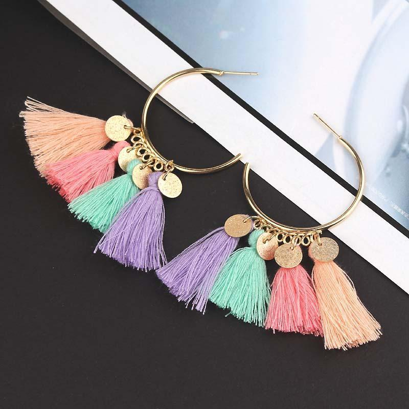Earrings Rainbow Tassel-Costume Jewellery