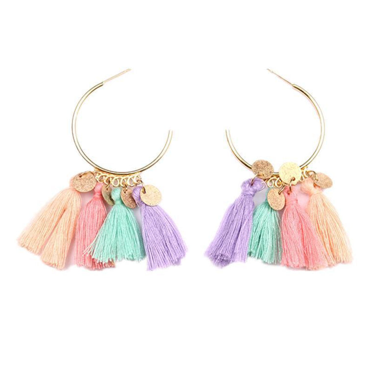 Earrings Rainbow Tassel