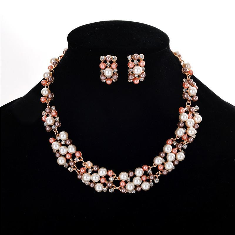 Necklace Altair Pearls + Earrings-Costume Jewellery
