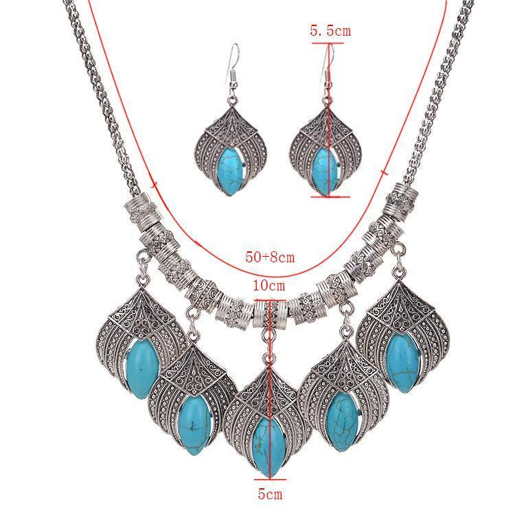 Necklace Cerise Silver + Earrings-Costume Jewellery