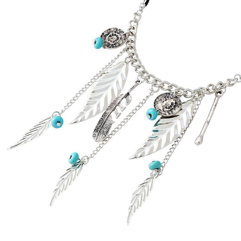 Necklace Deline Silver Feather-Costume Jewellery