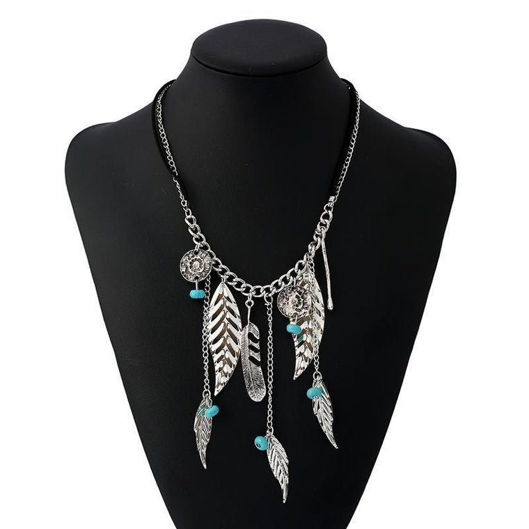 Necklace Deline Silver Feather