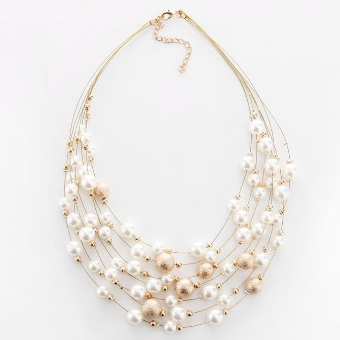 Necklace Jovite Pearls Gold-Costume Jewellery