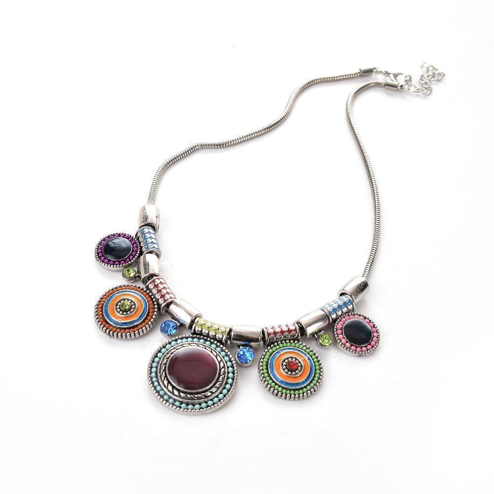Necklace Mya Aztec Silver-Costume Jewellery