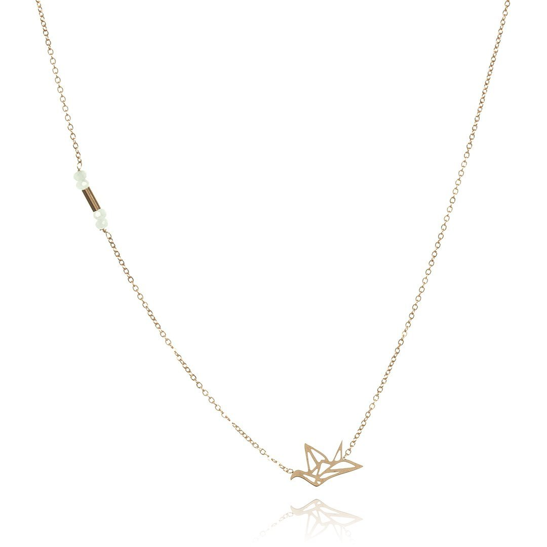 Necklace Origami Gold Stainless Steel-Costume Jewellery