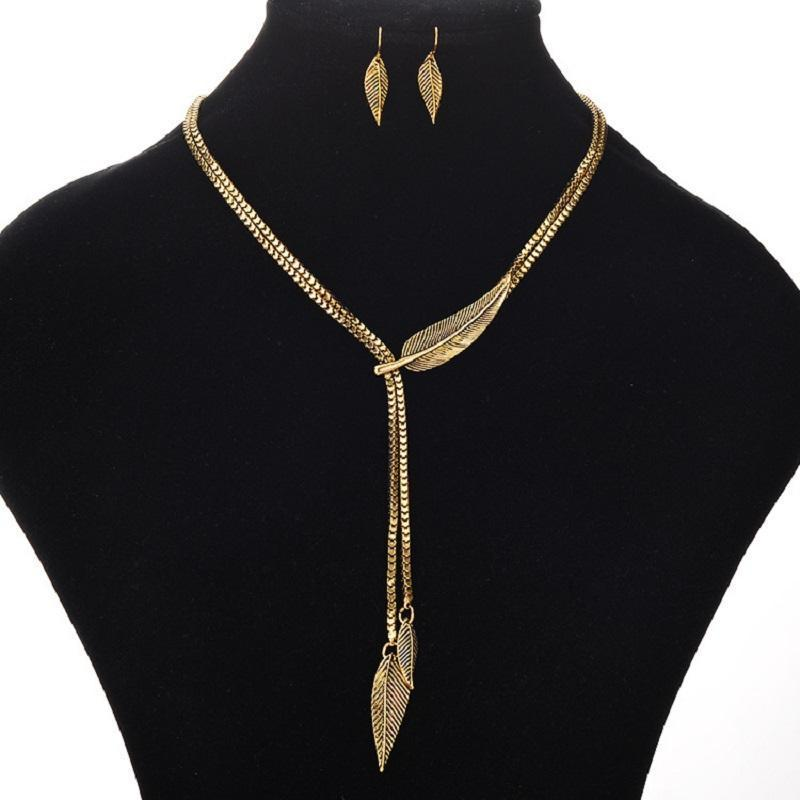 Necklace Runasimi Leaf Gold + Earrings-Costume Jewellery
