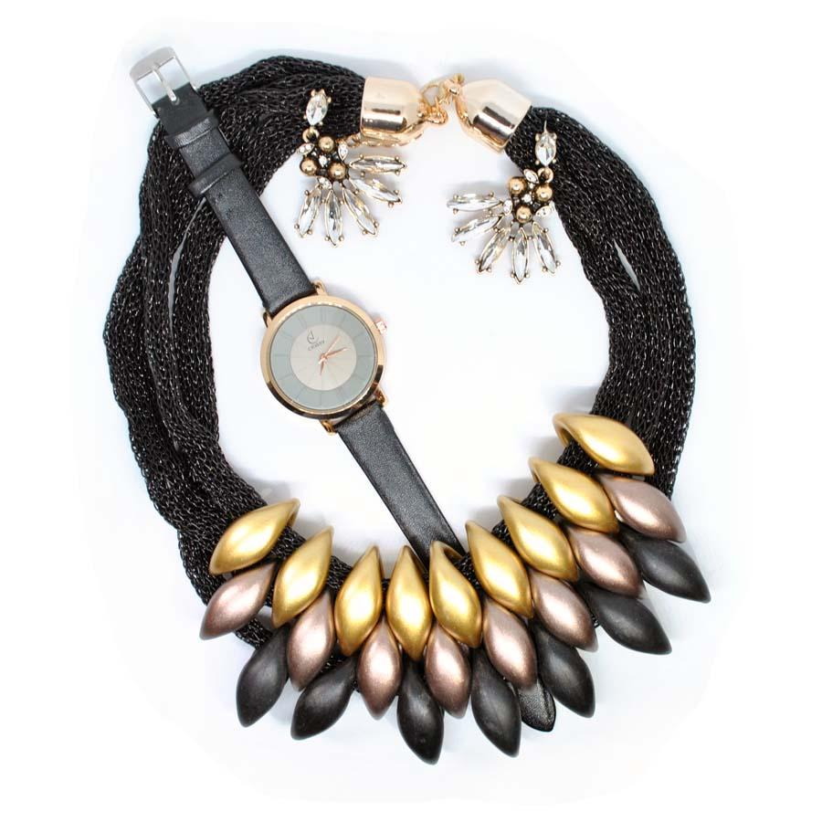 Set Bellin Gold & Black-Costume Jewellery