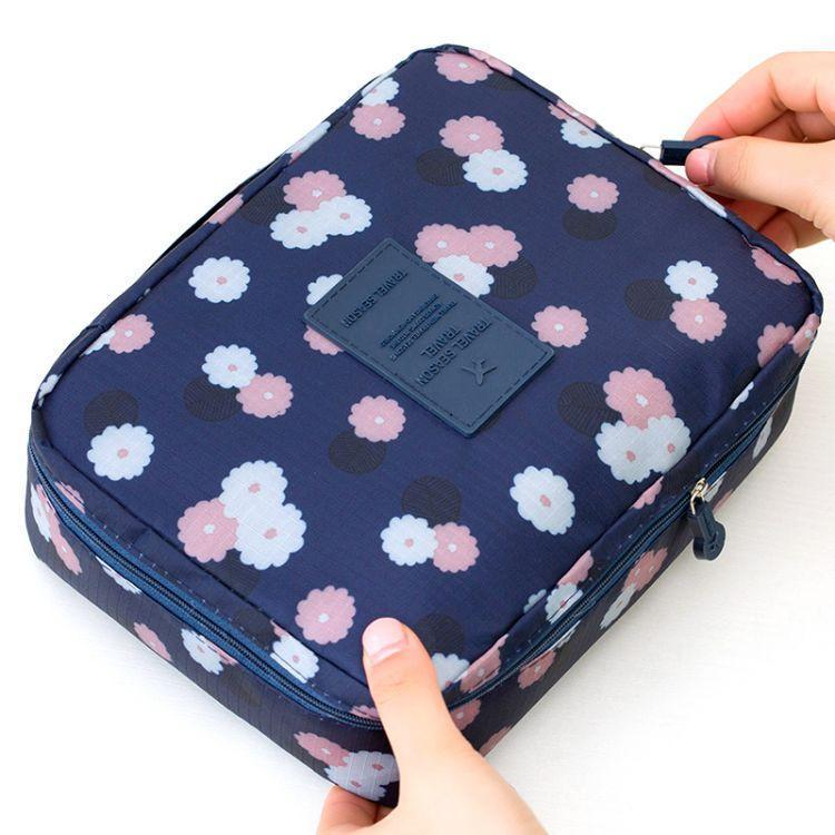 Wash Bag Flower Navy Blue-Costume Jewellery