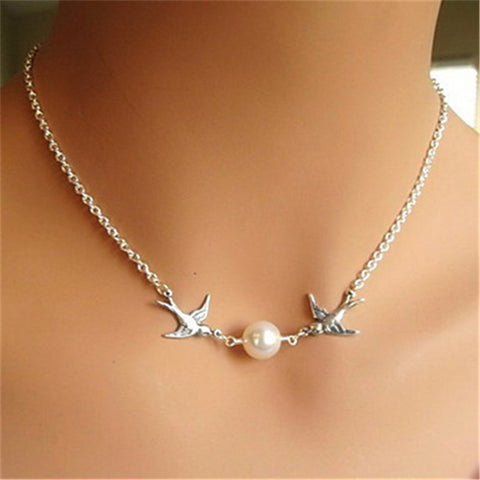 Double Swallows Simulated Pearl Choker Necklace