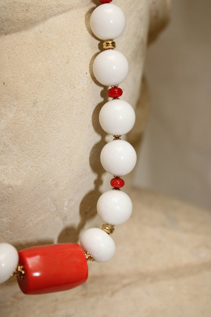 White Jade and Coral Necklace