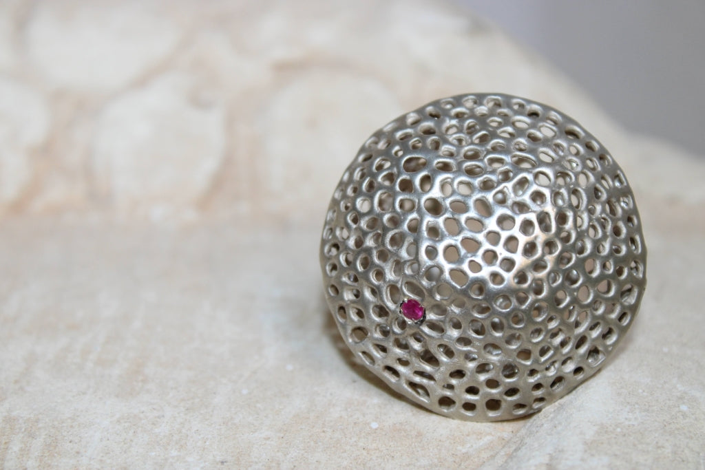 Aria Perfect Round Ring with Ruby in Silver