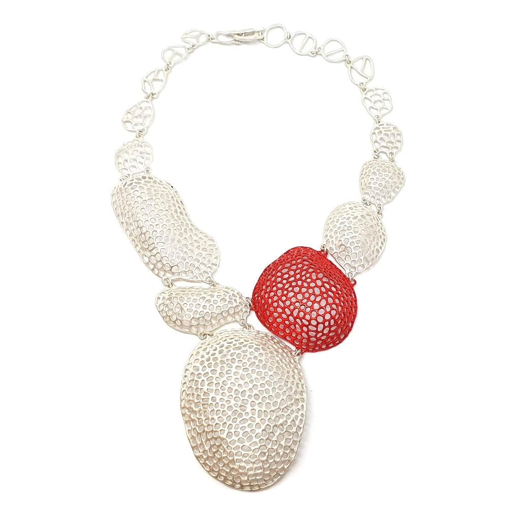 Aria Sculpture Necklace In Red