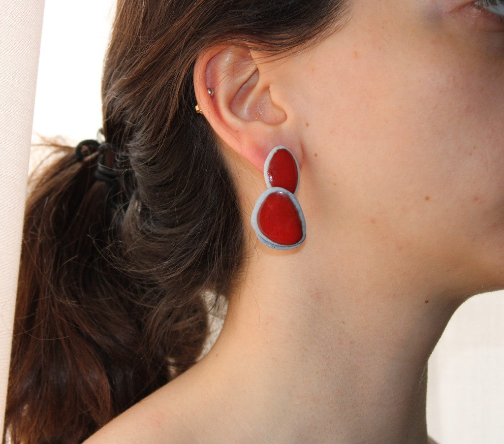 Light Blue and Red Orchid Earrings