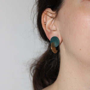 Orchid Twisted Earrings in Forest Green and Gold