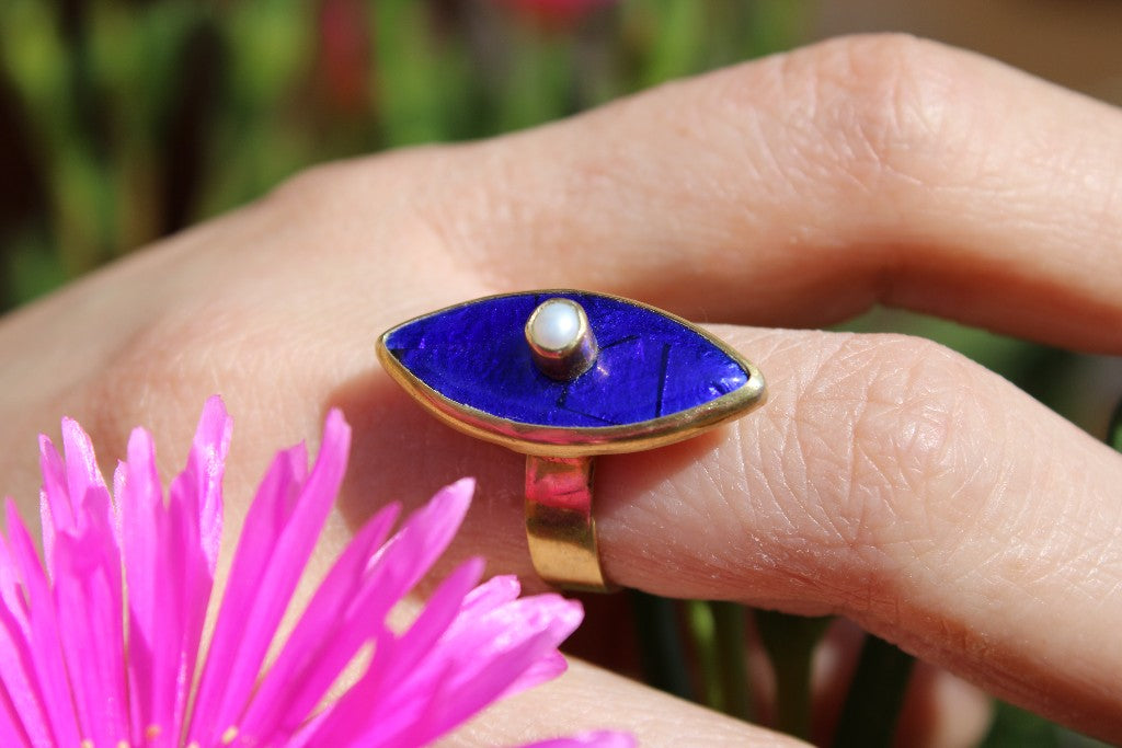 Blue Baby Rings with Pearls - UNIQUE PIECES
