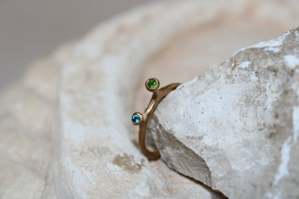 Minima Ring with Topaz and Chromodiopside