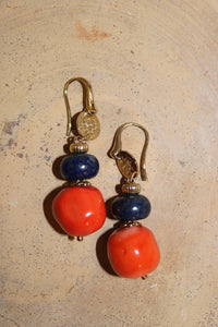 Coral and Lapislazzuli Earrings