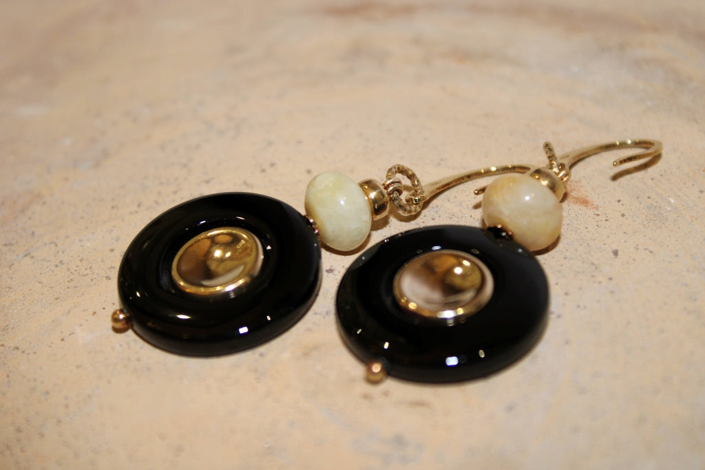 Black Onyx and Amazonite Earrings