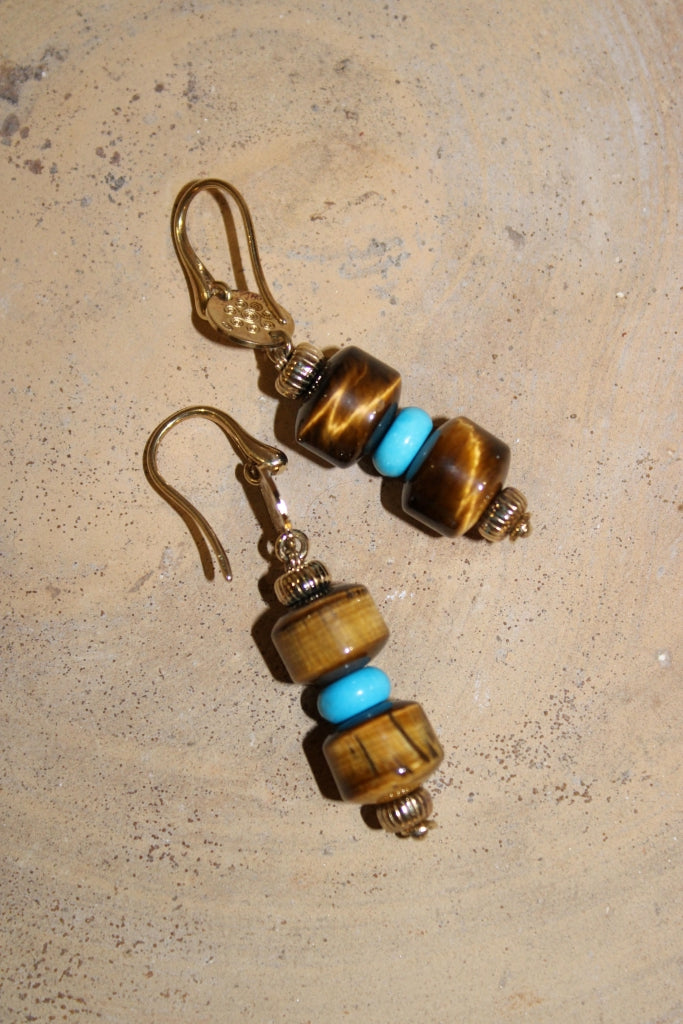 Tiger Eye and Turquoise Earrings