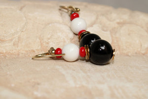 Onyx White Jade and Coral Earrings