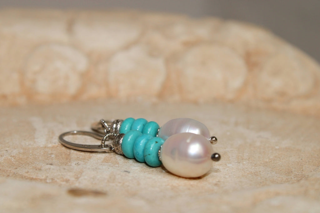 Turquoise and Pearls Earrings